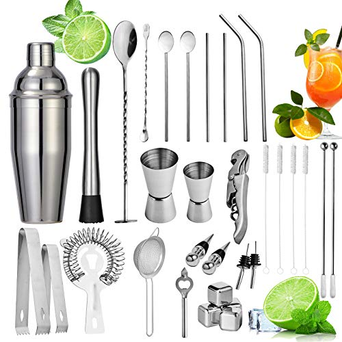 32Pcs Cocktail Shaker Set 750ml Bartender Making Kit con accessori bar Home Bar Drink Mixer Cocktail Maker Bar Tool Cocktail Strainer Double Jigger Bar Spoon Cavatappi Versare beccucci Cannucce