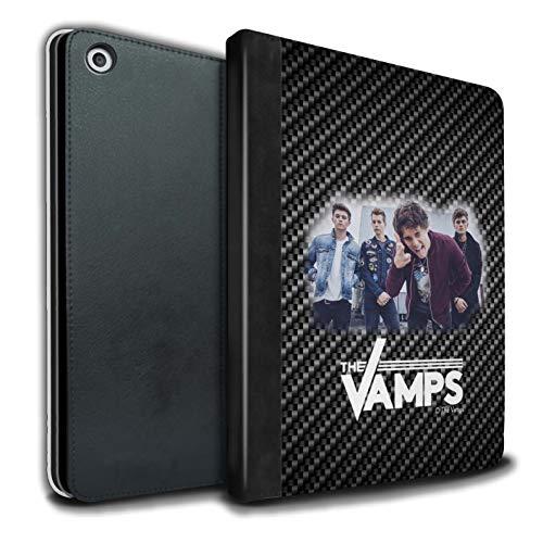 The Vamps PU Pelle Custodia/Cover/Caso Libro per Apple iPad 9.7 2018/6th Gen Tablet/Effetto Carbonio Servizio Fotografico Disegno