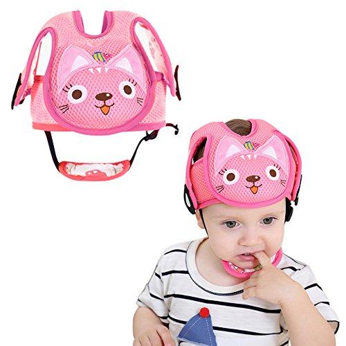 Per Baby-Schutzhelm mit Kinnschutz, Kopfschutz-Kissen mit verstellbaren Riemen, Schutzkappe mit Gurten für kleine Kinder, welche laufen und sitzen lernen.