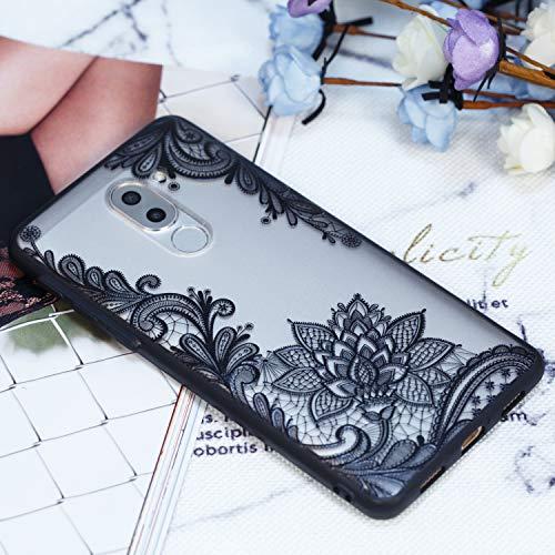 Grandoin Huawei Honor 6X Hülle, 2 in 1 Ultra Dünne Schale Ultra Dünn Weich TPU Bumper Case Silikon Schutzhülle Handy Tasche für Huawei Honor 6X (Schwarzer Lotus) - 5