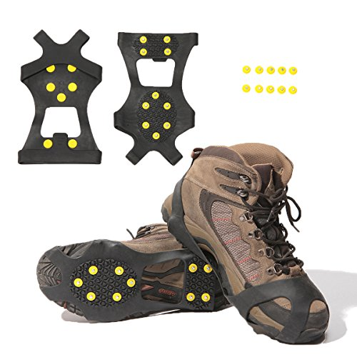 Carryown Ice Cleats, Ice Grips Traction Cleats Grippers Non-Slip Over Shoe/Boot Rubber Spikes Crampons Anti Easy Slip 10 Steel Studs Crampons Slip-on Stretch Footwear + 10 Extra Studs (Large)
