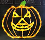 "IMPACT 15"" Orange Lighted Halloween Jack-o-Lantern Pumpkin Window Silhouette Decoration"