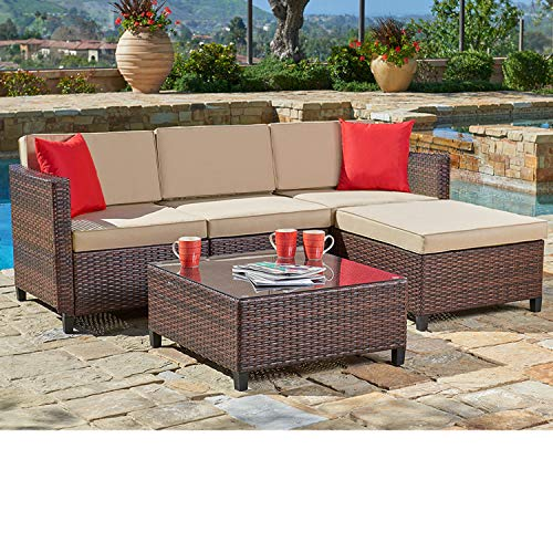 SUNCROWN Outdoor Sectional Sofa (5-Piece Set) All-Weather Brown Checkered Wicker Furniture with Brown Seat Cushions and Modern Glass Coffee Table, Patio, Backyard, Pool