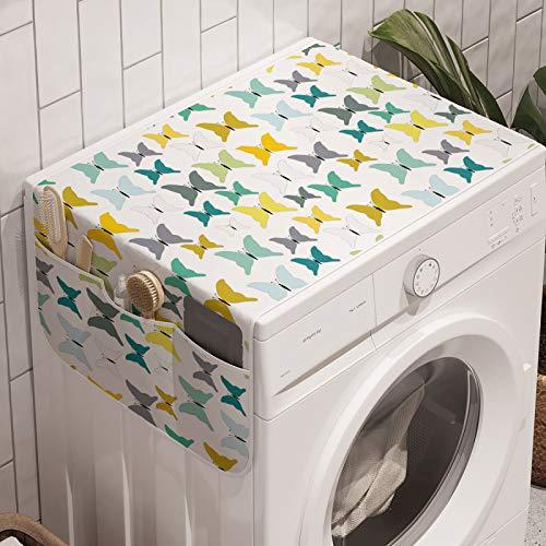 ABAKUHAUS Motte Waschmaschinen-Organizer, Bunte Schmetterlinge Bilder, Anti-Rutsch-Stoffabdeckung für Waschmaschine und Trockner, 47 cm x 120 cm, Mehrfarbig