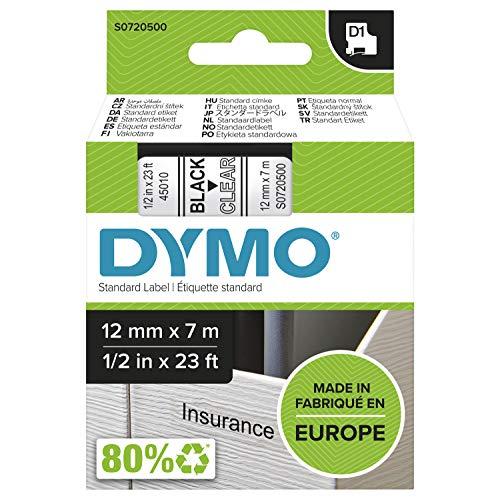 Dymo D1-Schriftband, 12mm x 7m, schwarz auf transparent