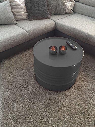 Fassmöbel Beistelltisch Ölfass Tisch Fass Design Möbel Couchtisch Anthrazit Ø 57cm
