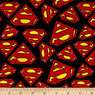 Quilting Treasures DC Comics Superman Logo Flannel Multi Fabric by The Yard, Multicolor