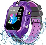 Sanyipace Kids Children Smart Watch Bracelet Waterproof SOS Call Support SIM Cart Positioning Motion Tracker Baby Dual Camera Voice Monitoring SOS Call Anti-Lost LBS Positioning Watch (Purple)