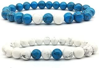 2pcs Rock Polish Matte Natural Stone Bead Bracelets,Luck Lava Buddha Bangles for Men Women Beaded Jewelry-Blue White