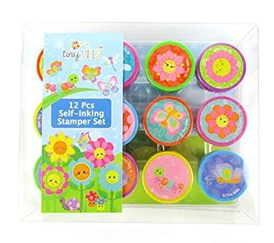 TINYMILLS 12 Pcs Spring Flowers Butterfly Stamp Kit for Kids Self Inking Stamps Gift Easter Basket Filler Rewards