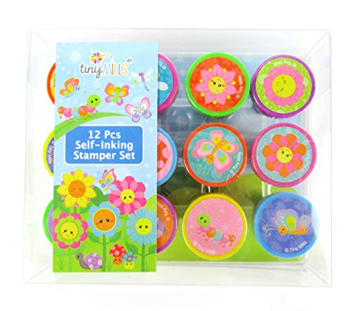 TINYMILLS 12 Pcs Spring Flowers Butterfly Stamp Kit for Kids Self Inking Stamps Gift Easter Basket Filler Rewards