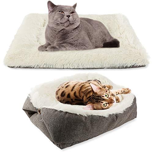 MeiLiMiYu Almohadilla de cama de gato autocalentable para gatos interiores, saco de dormir plegable convertible 2 en 1 para gatos pequeños