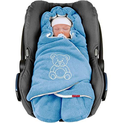 """ByBoom® - Baby Winter-Einschlagdecke\""""Das Original mit dem Bären\"""", Universal für Babyschale, Autositz, z.B. für Maxi-Cosi, Römer, für Kinderwagen, Buggy oder Babybett, Farbe:Blau/Weiß"""