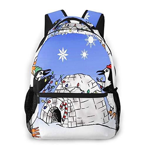 Rucksack Männer und Damen, Laptop Rucksäcke für 14 Zoll Notebook, Pinguin Eishaus Kinderrucksack Schulrucksack Daypack für Herren Frauen