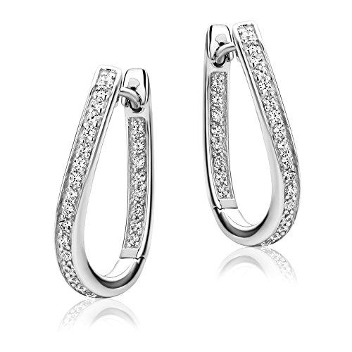 Miore Ohrringe Damen Creolen Silberfarbig 925 Sterling Silber Weiße Zirkonia Steinchen