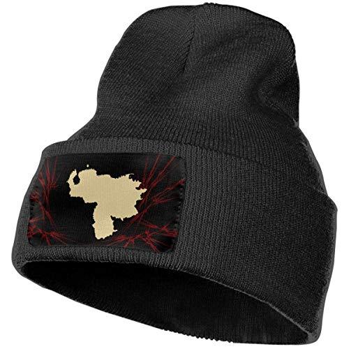 Tedtte Sombrero de Punto Unisex Gorro de Calavera de Moda Sombreros de Tejer - Mapa de Venezuela Oro No más dictador Casual