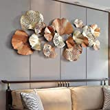 Metal Wall Art, Creative Handmade Golden Ginkgo Leaves Metal Wall Sculpture Decorative for Living Room Bedroom Office Wall Hangings, 136X62cm / 53X24inch