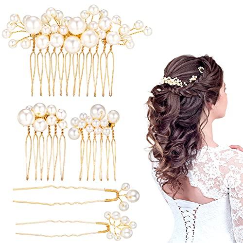 SOSPIRO 5 Stück Light Rose Gold Hochzeit Haarkamm, Braut Perle Haarschmuck Strass Brautschmuck Kamm Haarspange für Braut Brautjungfer Abendparty Party
