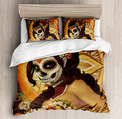 ysldtty 3D Bedding Set Halloween Sugar Skull Custom Twin Queen Kids Luxury Full Size Duvet Cover H3579U 200CM x 200CM With 2 pice pillowcase 50CM x 75CM