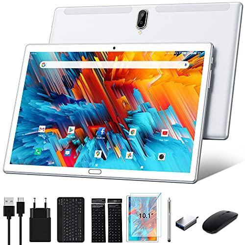 Tablet 10 pulgadas Android 10 4G LTE tablet PC con 2 ranuras SIM 4GB RAM 64GB ROM 128GB ampliable con teclado ratón bolígrafo OctaCore 1080P SD TypeC 6000mAh 13MP cámara Bluetooth WiFi GPS OTG, Plata