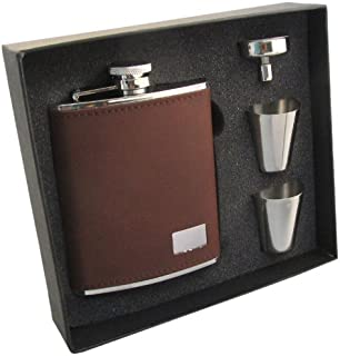 """Visol""""Hunter"""" Leather Stainless Steel Hip Flask Gift Set, 6-Ounce, Dark Brown"""