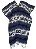 Del Mex Classic Mexican Blanket Poncho, Blue