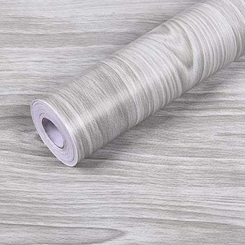 Hatoku Gray Wood Contact Paper 17.7x 118Self-Adhesive Wood PVC Wallpaper Thick Waterproof Easy to Clean Wall Covering Wood Panel Interior Vinyl Film Roll