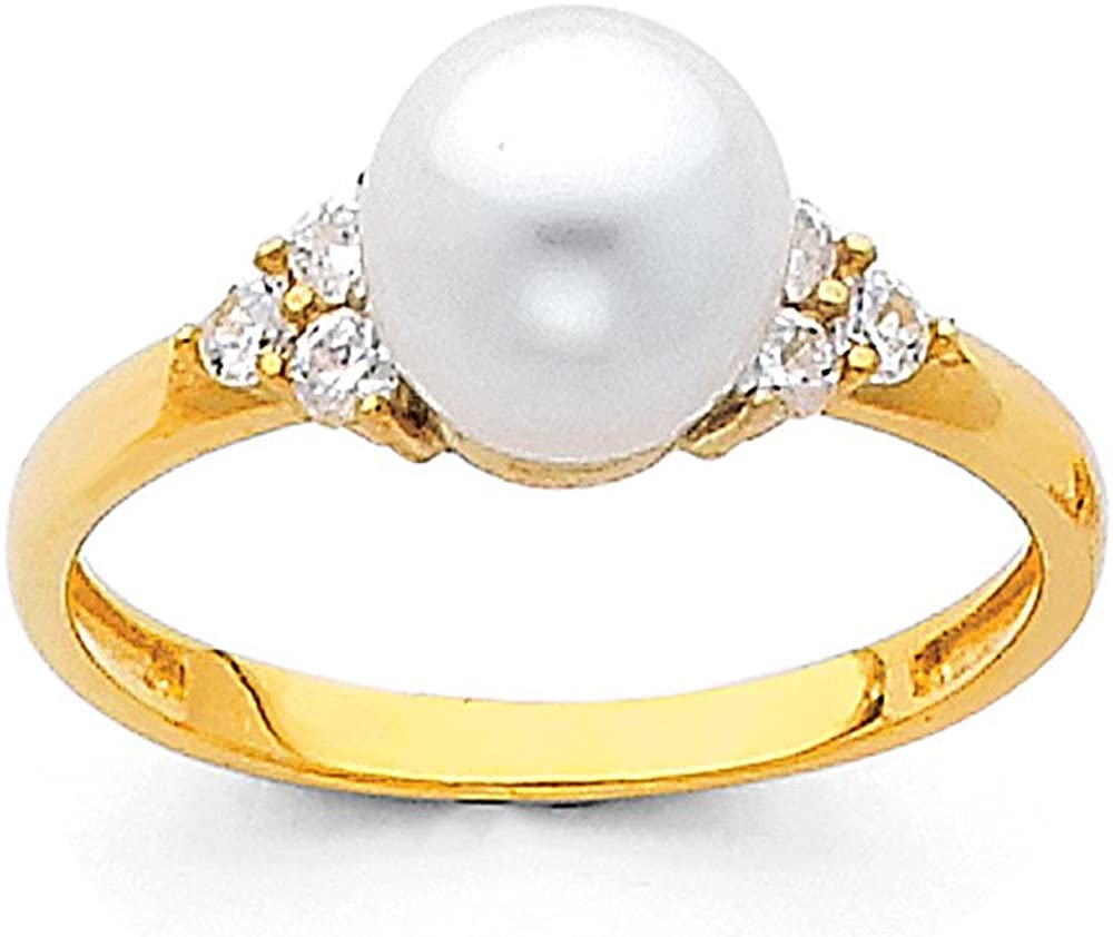 TWJC Charlotte Mall 14k Recommendation Yellow OR White Gold Freshwater 8mm Solid Cultured Pear