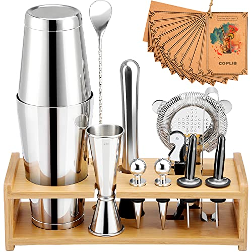 COPLIB 13 Pcs Rustproof Bartender Kit Cocktail Shaker Set with Stylish Stand, 304 Stainless Steel Bar Sets with 18-25oz Thicker Shaker Tins, silver