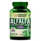 Himalayan Organics Alfalfa Calcium Citrate Malate 1200mg with Vitamin D, k2, Mk7, B12, Zinc &...