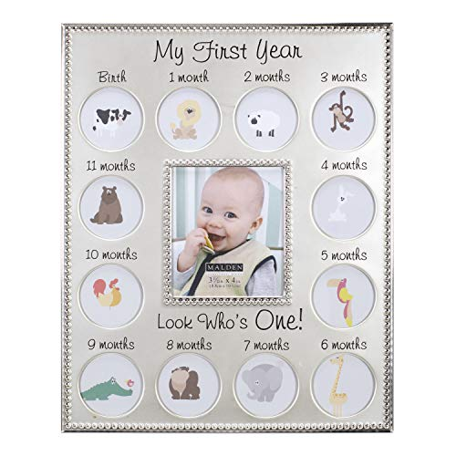 Malden International Designs My First Years Beaded Two Tone Silver Metal Picture Frame, 3 Option, 1-3.5x4 & 12-1x1, Silver