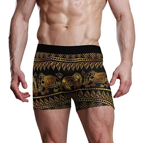 JIRT Herren Boxershorts Golden Pattern Elephant Leaf Unterwäsche Männlich Atmungsaktiv Stretch Trunks Bulge Pouch Weiche Unterhose