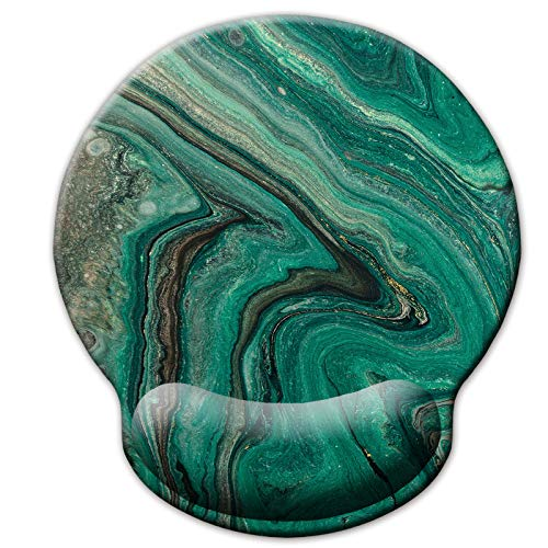 Ergonomic Mouse Pad with Wrist Support Rest,Green Marble Abstract Ocean Art Agate Ripple Pattern Wrist Pad for Desk Laptop Computer Home Office Working Studying Travel