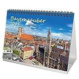Bayernzauber DIN A5 Tischkalender für 2021 Bayern - Geschenkset Inhalt: 1x Kalender, 1x Weihnachts- und 1x Grußkarte (insgesamt 3 Teile)