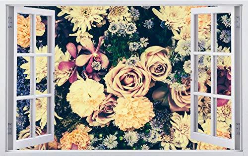 DesFoli Rosen Vintage Blumenstauß Wandtattoo Wandsticker Wandaufkleber F2993 Größe 70 cm x 110 cm