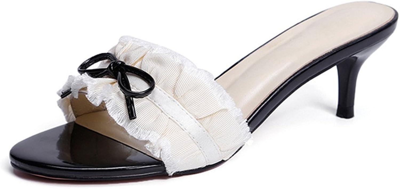 LIXIONG Tragbar Bequeme offene Sandalen Süe Auenseiten-Pantoffeln Sandalen mit hohem Absatz Lazy Sommer-Stiletto-Sandalen Modeschuhe (gre   EU36 UK4 CN36)