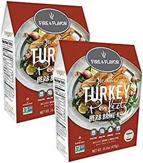Fire & Flavor Turkey Brining Kit (Turkey Perfect) - Pack of 2 Kits - Contains Our World Famous Brine and Brining Bag for a Memorable Turkey Feast!