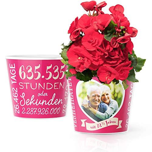 Juwelenhochzeit Geschenk – Blumentopf (ø16cm) | Geschenkidee zum Hochzeitstag nach 72,5 Jahren für Mann oder Frau mit Herz Bilderrahmen für 1 Foto (10x15cm) | Glücklich Verheiratet - 72,5 Jahre