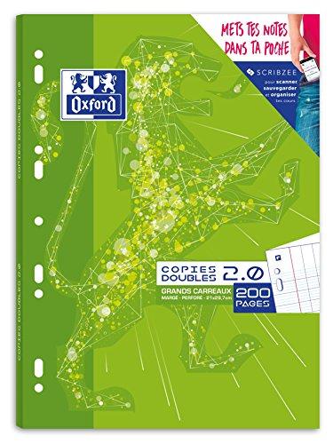 Oxford Copies doubles 2.0 perforées A4 200 pages grands carreaux seyès