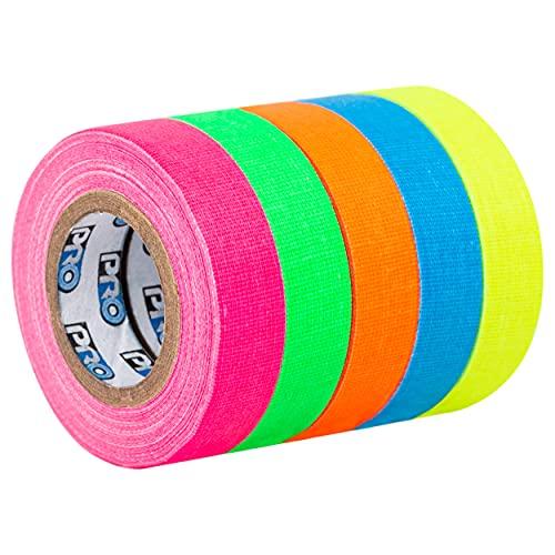 Pro Tapes Pro Pocket Spike Stack Set 12 mm x 5,5 m, Neon Tape fluoreszierend mit neongelb, neonorange, neonblau, neonpink, neongrün