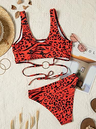 NBgy Bikinis para Mujer Anillo de Leopardo enlazado en Traje de baño de Bikini (Color : Red, Size : L)