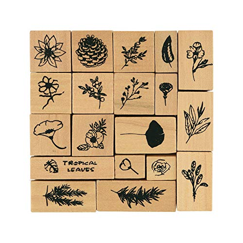 Dizdkizd 19 Pieces Wooden Rubber Stamps, Plant and Flowers Decorative Wood Mounted Rubber Stamp Set for DIY Craft, Card Making and Scrapbooking