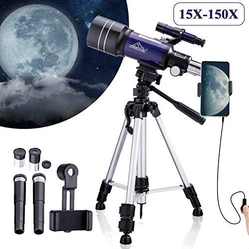 150X Astronomie Monoculaire telescoop 300/70mm voor kinderen met zoeker, statief en H6mm en H20mm oculair, geleverd met telefoonadapter, draadsluiter, maanfilter en rugzak, geschikt voor sterren kijken en vogels kijken (Blauw)