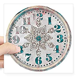 CafePress Antique Vintage Old Pretty Clock Square Bumper Sticker Car Decal, 3x3 (Small) or 5x5 (Large)