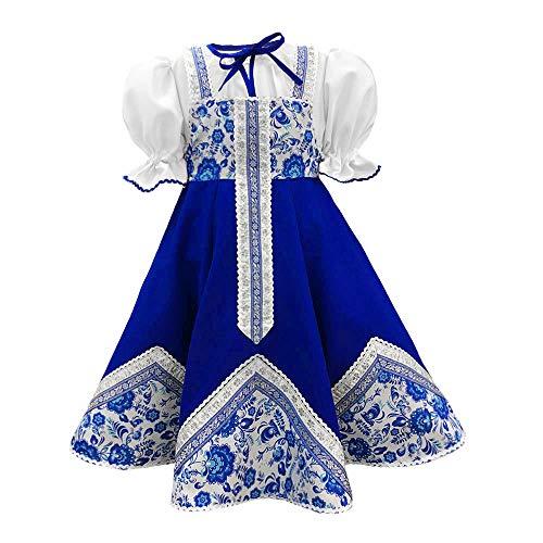 Russsian costume kokoshnik traditional dance costume blue Gzhel sarafan folk clothing Slavic attire