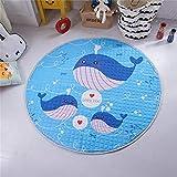 SWECOMZE Baby Krabbeldecke Kinderteppich Cartoon Spielmatte Spielzeug Aufbewahrungsbeutel für Kinderzimmer 150cm (Wal)