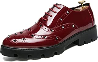 Men's Shoes-Men's Business Oxford Casual Personality Rivet Thick Bottom with Patent Leather Brogue Shoes Leisure (Color : Red, Size : 42 EU)