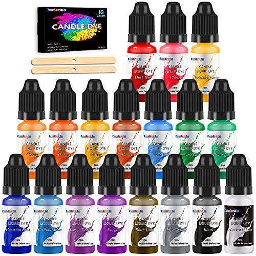 kerzenwachs farbe - 18 Farben flüssiger Kerzenwachs farbstoff für die Kerzenherstellung, hochkonzentrierter Kerzenfarbstoff für Sojawachs, Bienenwachs, kerzen wachs färben für DIY