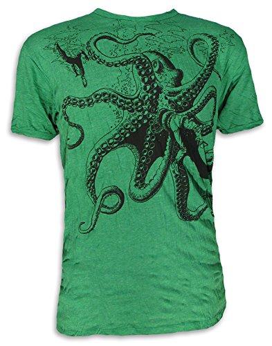 Sure Herren T-Shirt Riesen Krake Oktopus Scuba Taucher Sommer Freizeit Tauchen Strand (Grün XL)