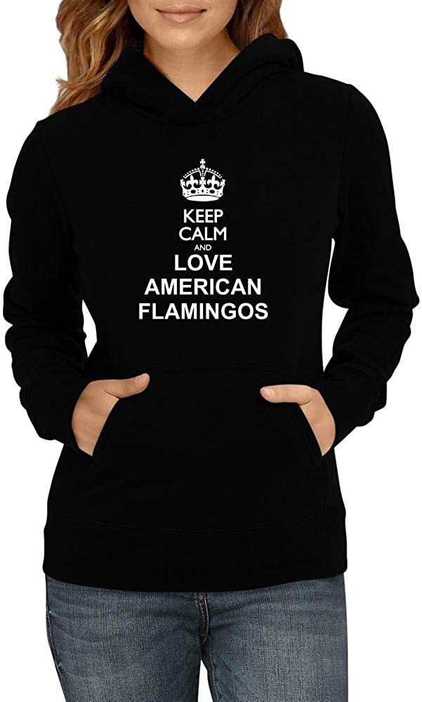Idakoos Keep Calm and Love Hoodie Women American Now on sale Genuine Free Shipping Flamingos